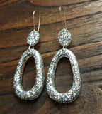 Teardrop Long Dangle Earrings, Silver Holographic Glitter Resin Dangle Statement Earrings