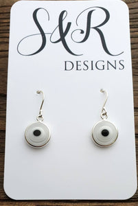 Sterling Silver White Evil Eye Dangle Earrings