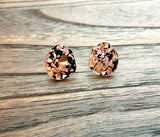 Rose Gold Black Chunky Shards Glitter Pebble Stud Earrings, Acrylic Earrings, Stainless Steel Earrings.