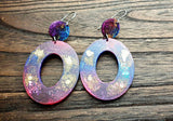 Large Oval Earrings Long Dangle, Pink Purple Blue Gold Resin Dangle Statement Earrings