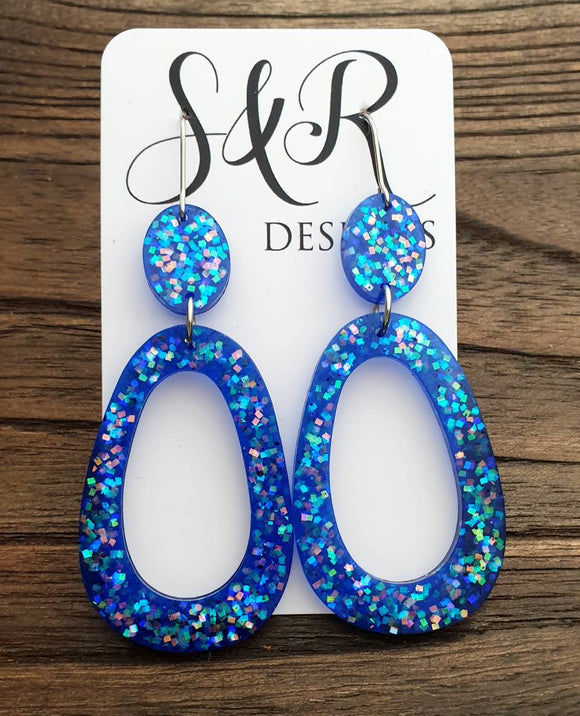 Large Teardrop Long Dangle Earrings, Blue Galaxy Glitter Resin Dangle Statement Earrings