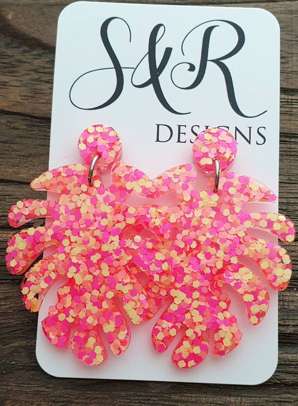 Large Monstera Leaf Long Dangle Stud Earrings, Neon Yellow Pink Orange Glitter Resin Dangle Statement Earrings
