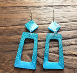 Rectangle Long Dangle Earrings, Two Tone Blue Glitter Resin Dangle Statement Earrings