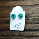 Circle Dot Resin Stud Earrings, Teal Glitter Earrings. Stainless Steel Stud Earrings. 10mm or 8mm