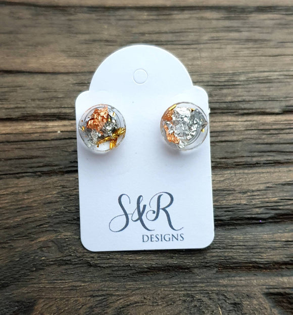 Circle Dot Resin Stud Earrings, Gold Silver Rosegold Leaf Earrings. Stainless Steel Stud Earrings. 10mm