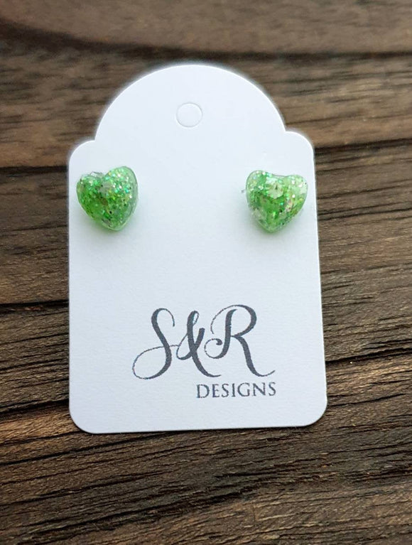 Mini Heart Resin Stud Earrings, Glitter Earrings, Green White Silver Glitter Earrings made with Stainless Steel. 6mm Minimalist Earrings