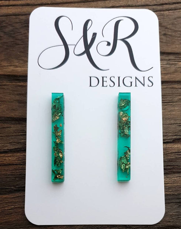 Long Bar Earrings, Emerald Green Rose Gold Leaf Earrings, Bar Resin Earrings, Stainless Steel Earrings, Statement Earrings