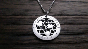 Hand Stamped Personalised Circle Necklace Multi Hearts  Design 30mm Silver Necklace