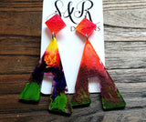 Large Unique Design Long Dangle Earrings, Yellow, Red Purple Green Resin Dangle Statement Earrings