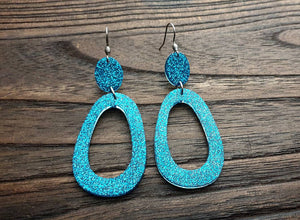 Large Teardrop Long Dangle Earrings, Teal Glitter Resin Dangle Statement Earrings