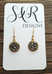 Charcoal Grey Sparkly Faux Druzy Dangle Earrings made of Stainless Steel Gold