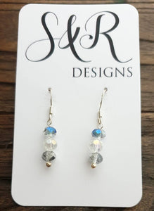 Sterling Silver Clear Blue Silver Swarovski Crystal Beaded Earrings
