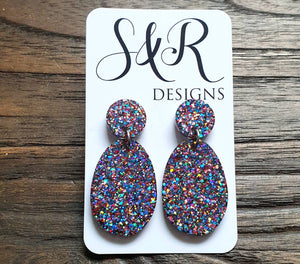 Statement Oval Long Resin Earrings, Confetti Glitter Resin Earrings, Stainless Steel Earrings, Bridesmaid Earrings, Bride Earrings