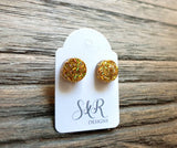 Circle Dot Resin Stud Earrings, Gold Holographic Glitter Earrings. Stainless Steel Stud Earrings. 10mm or 8mm