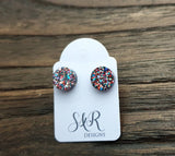 Circle Dot Resin Stud Earrings, Confetti Glitter Earrings. Stainless Steel Stud Earrings. 10mm or 8mm
