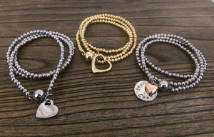 Personalised Bracelet, Stainless Steel personalised hand stamped Triple wrap ball bracelet with silver personalised charms. Choose colour.