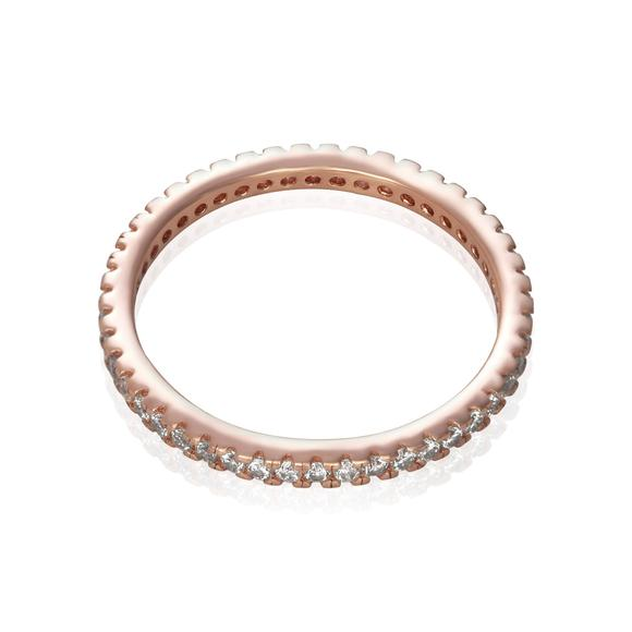 Sterling Silver Eternity Ring Cubic Zirconia Rose Gold Plated - Silver and Resin Designs