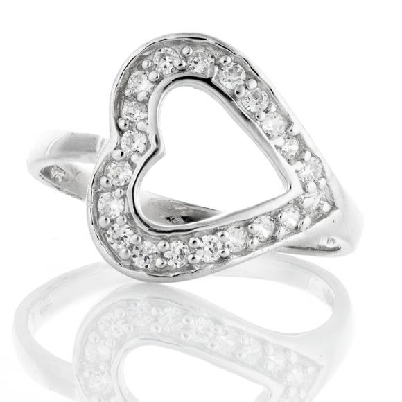 Sterling Silver Open Heart Ring Cubic Zirconia - Silver and Resin Designs