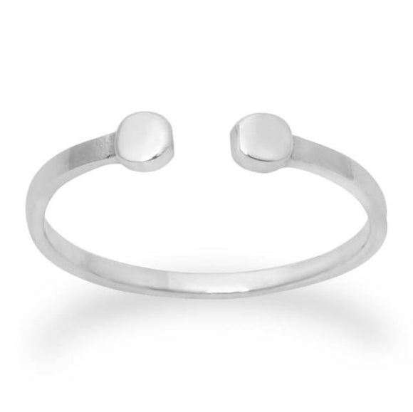 Sterling Silver .925 Real Silver Twin Dots Midi Band Design Ring - Silver and Resin Designs