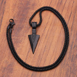 Matte Black Long Necklace & Arrow Pendant