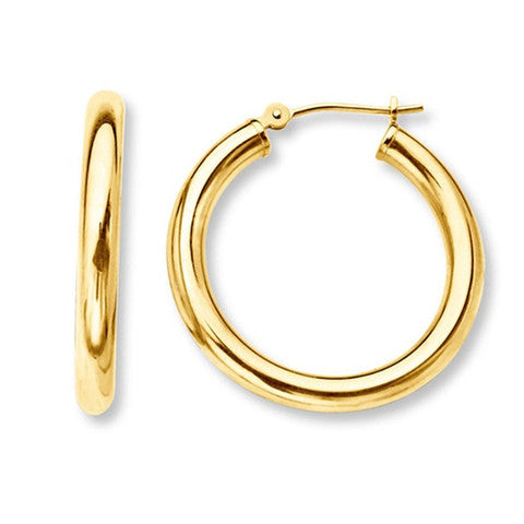 Solid Gold French Lock Hoops - JewelMeDown