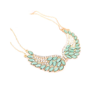Turquoise Beads Angel Wing Statement Necklace - JewelMeDown