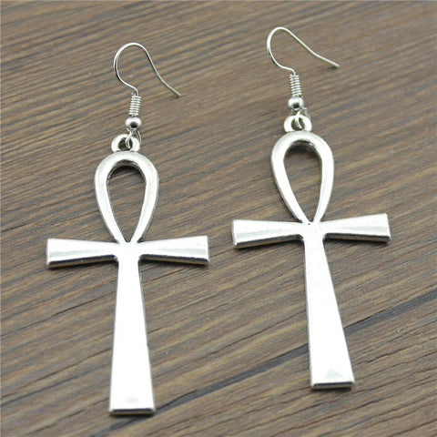 Big Egyptian Ankh Drop Earrings
