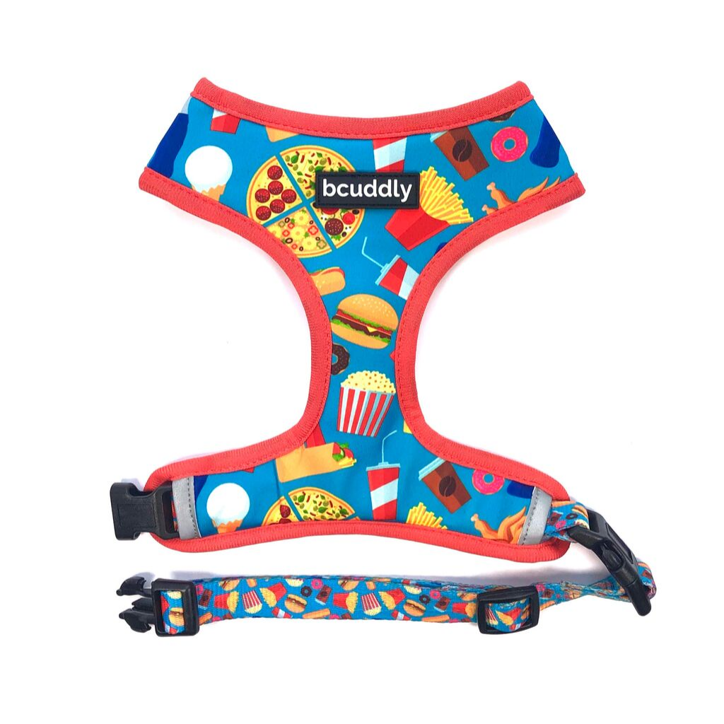 Reversible Dog Harness - Food & Stripes
