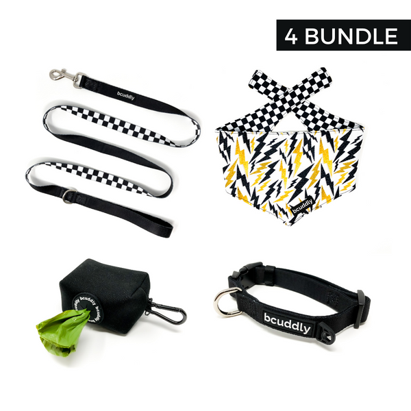 Black (Leash, Collar, Bandana, Poop Bag Holder)