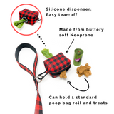 Red Plaid (Leash, Harness, Poop Bag Holder)