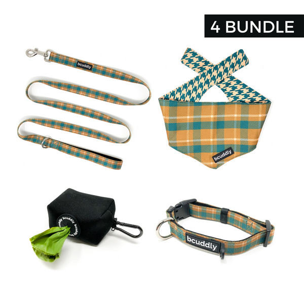 Cozy Plaid (Leash, Collar, Bandana, Poop Bag Holder)