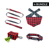 Red Plaid (Leash, Collar, Bandana, Poop Bag Holder)