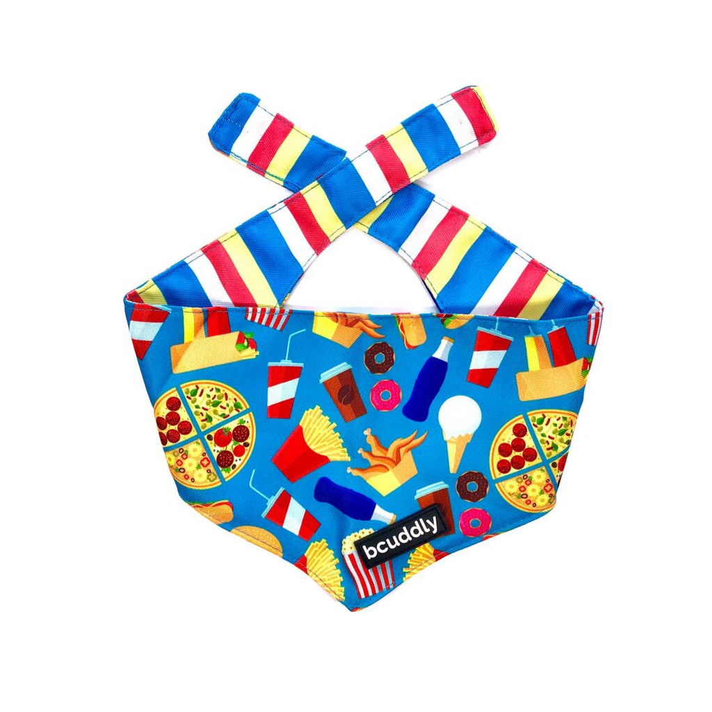 Dog bandana - Food & Stripes