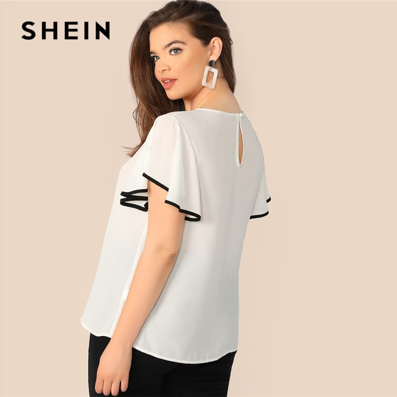 7e0a9b1c8681 ... Load image into Gallery viewer, SHEIN Plus Size White Contrast Binding  Butterfly Sleeve Button Ruffle