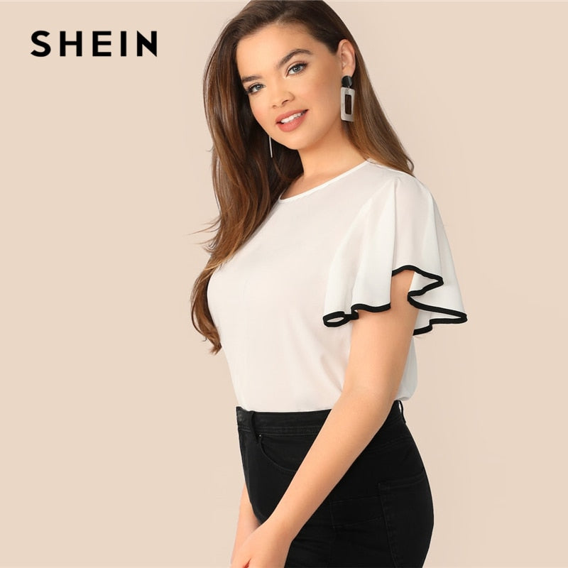 e4ea930ca19d ... Load image into Gallery viewer, SHEIN Plus Size White Contrast Binding  Butterfly Sleeve Button Ruffle ...