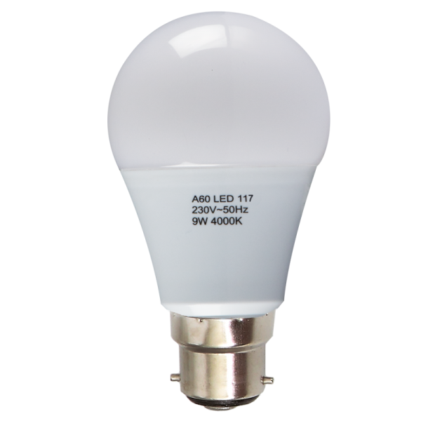 9W: Frosted LED Bulb - BC (B22)