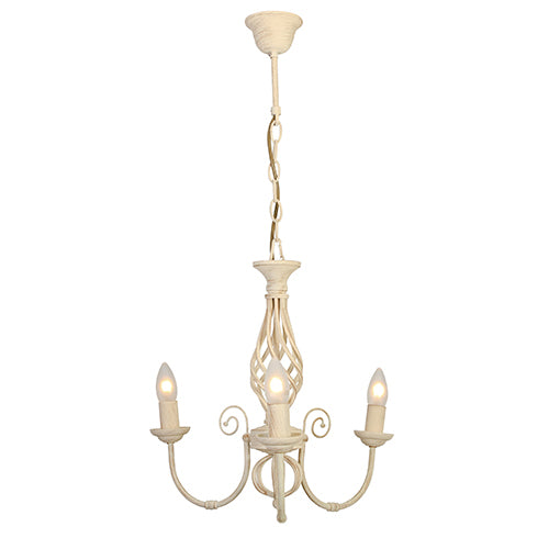 Emma 3LT Chandelier 385mm Cream