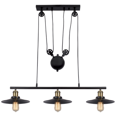 Matt Black Metal with Pulley Cord Chandelier - CH238/3