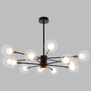 Black and Gold Metal Chandelier - CH254/12