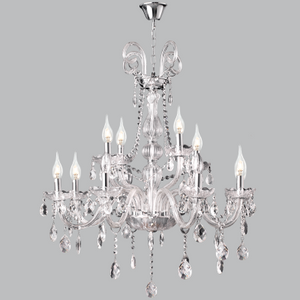 Polished Chrome Chandelier with Crystals - CH267/8+4 crystal