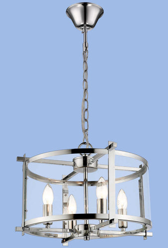 Polished Chrome Chandelier with Clear Glass - CH340/4 CHROME