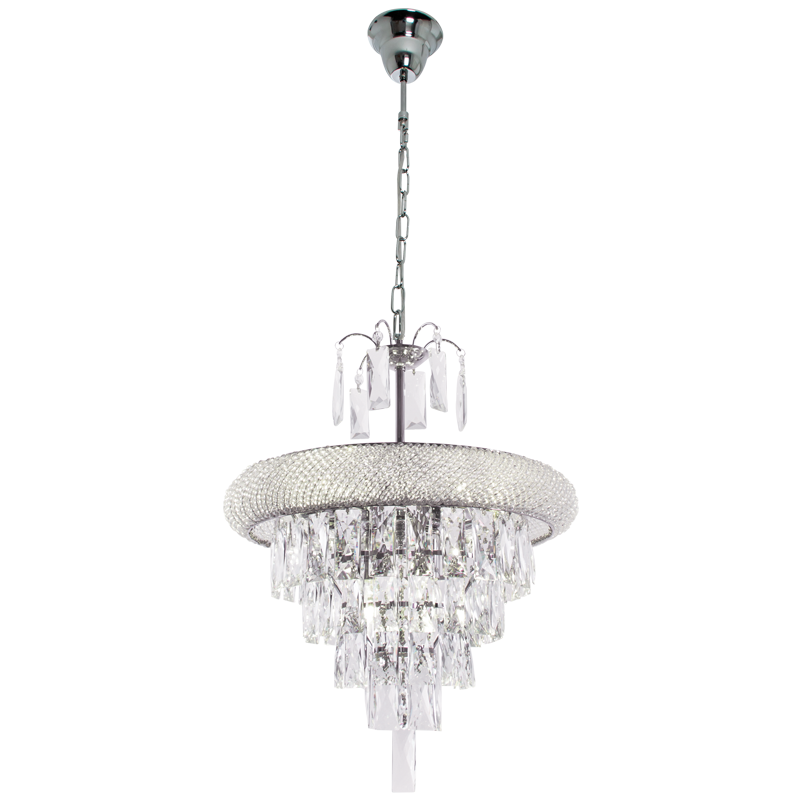 Polished Chrome Chandelier with Crystals - CH344