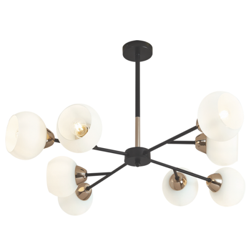 Metal Chandelier with White Glass - CH509/8 BK/GD