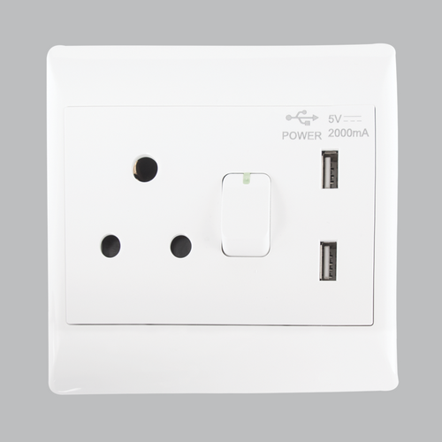 Socket outlet (Plug) with USB (Cell phone Chargering)