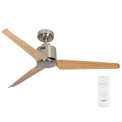 Ceiling fan:  Satin Nickle with Brown Wood Blades:  No Light - CF053