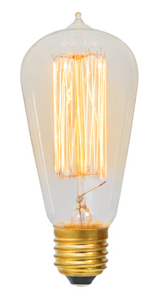 60W: E27 - G785 Carbon Filament Pear-shaped Squirrel Cage with Nipple bulb