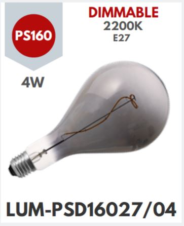 4W: LED DECOR BULB - PS160 E27 Filament SMOKY FINISH Dimmable