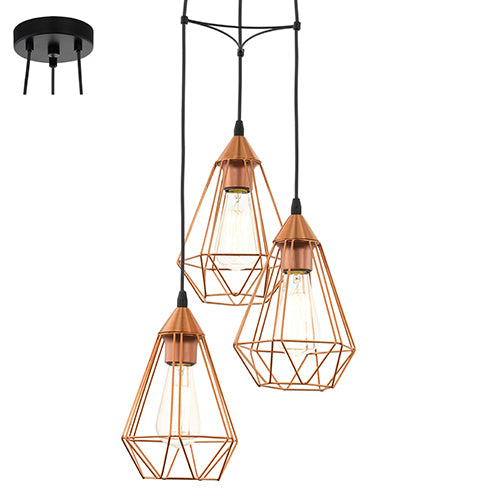 Tarbes 3LT Pendant 310mm Copper - P691C