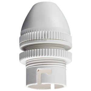 BC White Plastic Lampholder with Ring