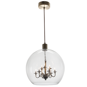 Polished Chrome Pendant with Smoke or Clear colour glass:  Pen625